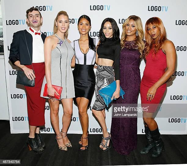 Jacob Tobia Carmen Carrera Geena Rocero Isis King Laverne Cox and Mila Jam attend 'Laverne Cox Presents The T Word' Logo TV Premiere Party Screening...