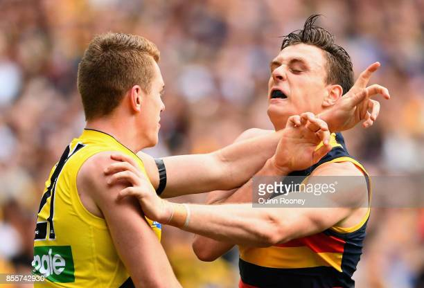 Jacob Townsend of the Tigers and Jake Lever of the Crows wrestle during the 2017 AFL Grand Final match between the Adelaide Crows and the Richmond...