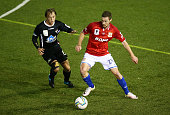 Jacob Tratt of Sydney United 58 FC beats the defence during the FFA Cup round of 32 match between Blacktown City and Sydney United 58 FC at Lilly's...