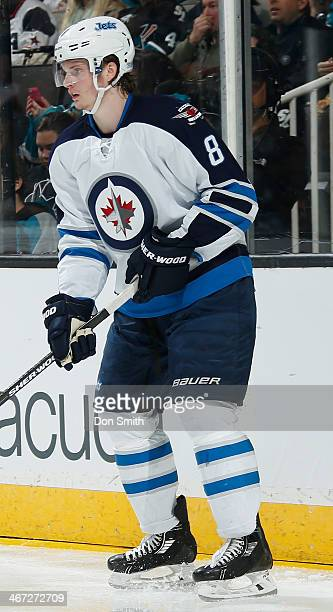 Jacob Trouba of the Winnipeg Jets gets in position for a pass against the San Jose Sharks during an NHL game on January 23 2014 at SAP Center in San...