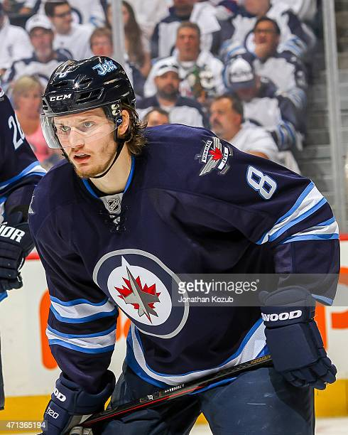 Jacob Trouba of the Winnipeg Jets gets set for a second period faceoff against the Anaheim Ducks in Game Four of the Western Conference Quarterfinals...