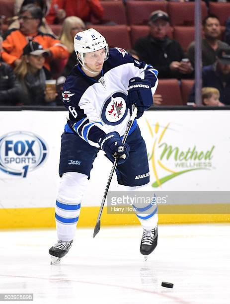 Jacob Trouba of the Winnipeg Jets passes against the Anaheim Ducks at Honda Center on January 3 2016 in Anaheim California