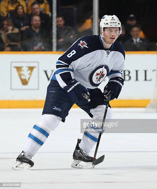 Jacob Trouba of the Winnipeg Jets skates against the Nashville Predators during an NHL game at Bridgestone Arena on January 5 2016 in Nashville...