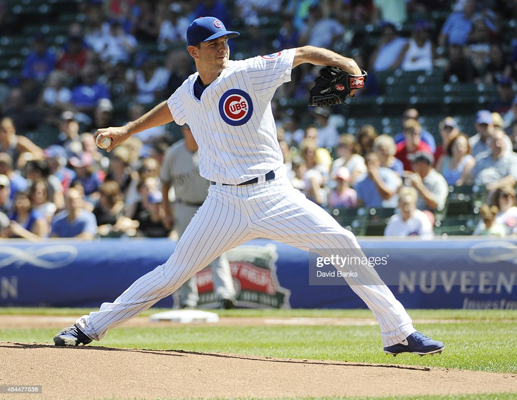 Jacob Turner #38 of the Chicago Cubs pitches against the Chicago Cubs during the first inning on September 1, 2014 at Wrigley Field in Chicago, Illinois.