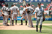 Jacob Turner of the Chicago White Sox leaves the game after being pulled during the fifth inning of the game against the Los Angeles Angels of...