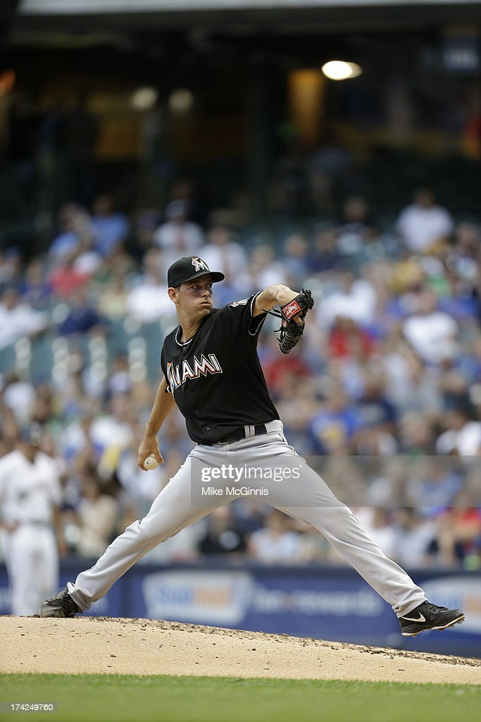 Jacob Turner #33 of the Miami Marlins pitches during the game against the Milwaukee Brewers at Miller Park on July 19, 2013 in Milwaukee, Wisconsin.