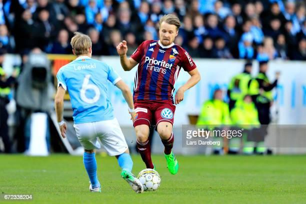 Jacob Une Larsson of Djurgardens IF during the Allsvenskan match between Malmo FF and Djurgardens IF at Swedbank Stadion on April 24 2017 in Malmo...