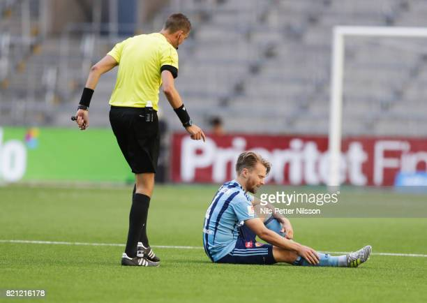 Jacob Une Larsson of Djurgardens IF injured during the Allsvenskan match between Djurgardens IF and Ostersunds FK at Tele2 Arena on July 23 2017 in...