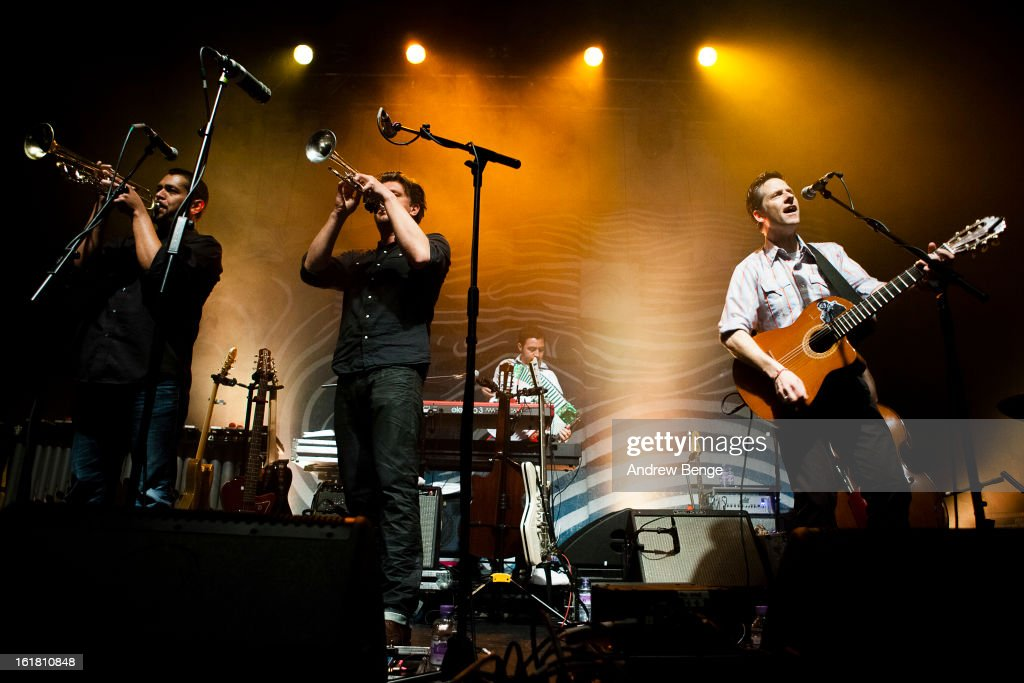Jacob Valenzuela and Joey Burns of Calexico perform on stage at HMV Ritz on February 16, 2013 in Manchester, England.