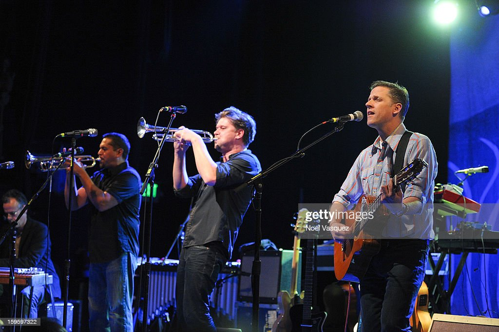 Jacob Valenzuela, Martin Wenk and Joey Burns of Calexico perform at El Rey Theatre on January 16, 2013 in Los Angeles, California.