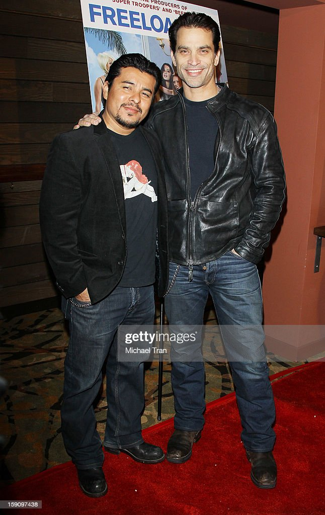 <a gi-track='captionPersonalityLinkClicked' href=/galleries/search?phrase=Jacob+Vargas&family=editorial&specificpeople=2180086 ng-click='$event.stopPropagation()'>Jacob Vargas</a> (L) and Johnathon Schaech arrive at the Los Angeles premiere of 'Freeloaders' held at Sundance Cinemas on January 7, 2013 in Los Angeles, California.