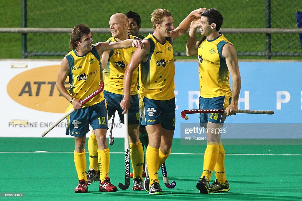 Jacob Whetton, Rob Hammond, Daniel Beale, Trent Mitton of the Kookaburras celebrate after scoring a goal during the game against Pakistan during day one of the 2012 International Super Series at Perth Hockey Stadium on November 22, 2012 in Perth, Australia.