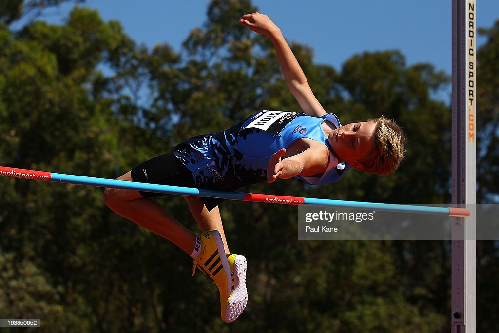 Jacob Winston of New South Wales competes in the mens u14 high jump during day six of the Australian Junior Championships at the WA Athletics Stadium on March 17, 2013 in Perth, Australia.