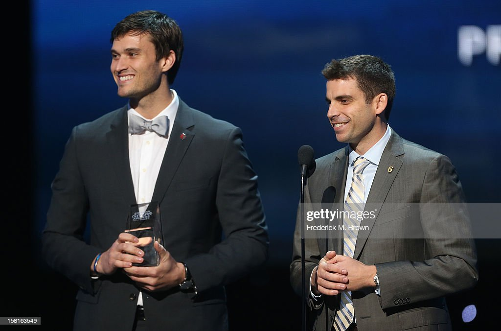 Jacob Wood and William McNulty of Team Rubicon accept the 'Heroes and Leaders' Award onstage at the American Giving Awards presented by Chase held at the Pasadena Civic Auditorium on December 7, 2012 in Pasadena, California.