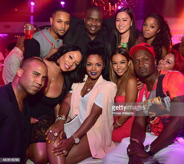 Jacob York Sarah Vivan Sheneka Adams Rasheeda Karrueche Tran Krik Frost attend the 13th annual birthday party of the Wolf of Black Hollywood at Prive...
