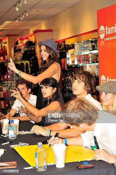 Jacob Zachar Amber Stevens Dilshad Vadaria Scott Michael Foster Spencer Grammer and Jake McDorman sign autograph's at the ABC Family's Greek Cast...