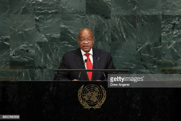 Jacob Zuma President of South Africa addresses the United Nations General Assembly at UN headquarters September 20 2017 in New York City The most...