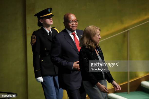 Jacob Zuma President of South Africa arrives to address the United Nations General Assembly at UN headquarters September 20 2017 in New York City The...
