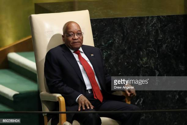 Jacob Zuma President of South Africa waits to address the United Nations General Assembly at UN headquarters September 20 2017 in New York City The...