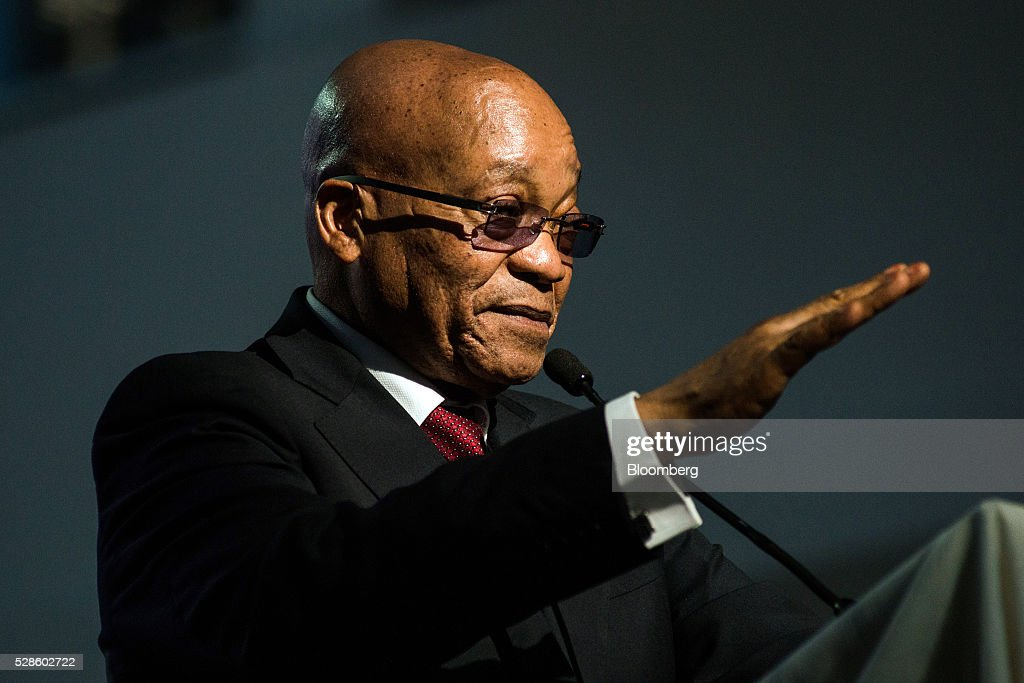<a gi-track='captionPersonalityLinkClicked' href=/galleries/search?phrase=Jacob+Zuma&family=editorial&specificpeople=564982 ng-click='$event.stopPropagation()'>Jacob Zuma</a>, South Africa's president, gestures whilst speaking during a visit to the offices of South African Airways (SAA) in Johannesburg, South Africa, on Friday, May 6, 2016. It appears to be just a matter of time before South Africa's credit rating is cut to junk. Photographer: Waldo Swiegers/Bloomberg via Getty Images