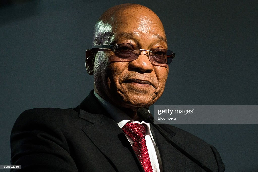 <a gi-track='captionPersonalityLinkClicked' href=/galleries/search?phrase=Jacob+Zuma&family=editorial&specificpeople=564982 ng-click='$event.stopPropagation()'>Jacob Zuma</a>, South Africa's president, pauses while speaking during a visit to the offices of South African Airways (SAA) in Johannesburg, South Africa, on Friday, May 6, 2016. It appears to be just a matter of time before South Africa's credit rating is cut to junk. Photographer: Waldo Swiegers/Bloomberg via Getty Images
