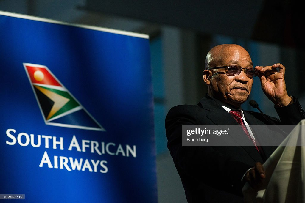<a gi-track='captionPersonalityLinkClicked' href=/galleries/search?phrase=Jacob+Zuma&family=editorial&specificpeople=564982 ng-click='$event.stopPropagation()'>Jacob Zuma</a>, South Africa's president, speaks during a visit to the offices of South African Airways (SAA) in Johannesburg, South Africa, on Friday, May 6, 2016. It appears to be just a matter of time before South Africa's credit rating is cut to junk. Photographer: Waldo Swiegers/Bloomberg via Getty Images