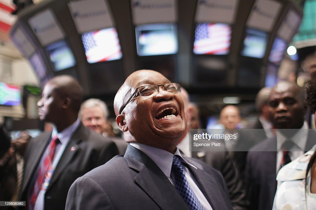 <a gi-track='captionPersonalityLinkClicked' href=/galleries/search?phrase=Jacob+Zuma&family=editorial&specificpeople=564982 ng-click='$event.stopPropagation()'>Jacob Zuma</a>, South Africa's president, visits the New York Stock Exchange on September 19, 2011 in New York City. Amid hopes that Greece may avoid a default, stocks cut their earlier losses in afternoon trading with the Dow Jones industrial average (INDU) ending down 108 points at the day's close.