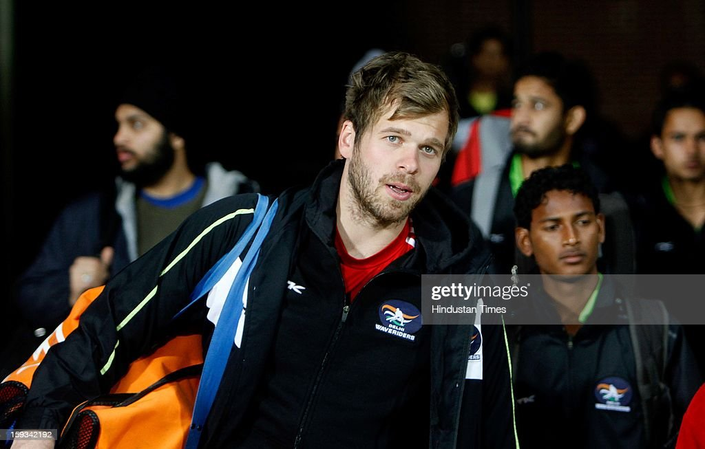 Jacobi, Delhi Wave Riders goalkeeper, during the practice session ahead of Hockey India League at Major Dhyan Chand National Stadium on January 11, 2013 in New Delhi, India.