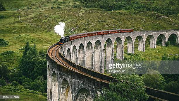 Jacobite Express crossing Glenfinnan Viaduct