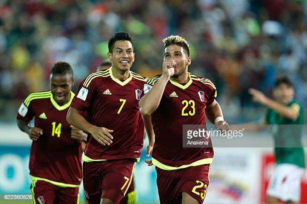 Jacobo Koufatti of Venezuela celebrates after scoring the opening goal during a match between Venezuela and Brazil as part of FIFA 2018 World Cup...