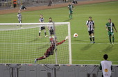 Jacobo of PAOK FC makes a save during the UEFA Europa League group stage match between Maccabi Haifa FC and PAOK FC held on November 7 2013 at the...