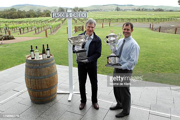 Jacob's Creek chief winemaker Bernard Hickin with the Norman Brookes Challenge Cup and CEO of Tennis SA Alistair MacDonald with the Daphne Akhurst...