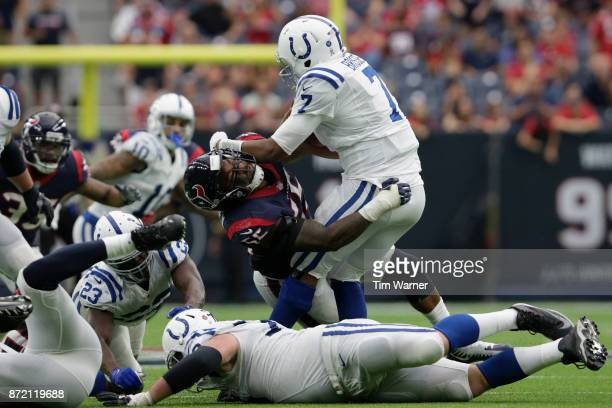 Jacoby Brissett of the Indianapolis Colts is sacked by Benardrick McKinney of the Houston Texans in the second half at NRG Stadium on November 5 2017...