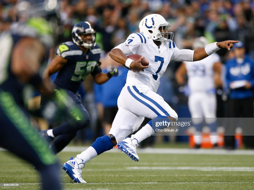 Jacoby Brissett #7 of the Indianapolis Colts points as he rushes for 25 yards in the second quarter of the game against the Seattle Seahawks at CenturyLink Field on October 1, 2017 in Seattle, Washington.