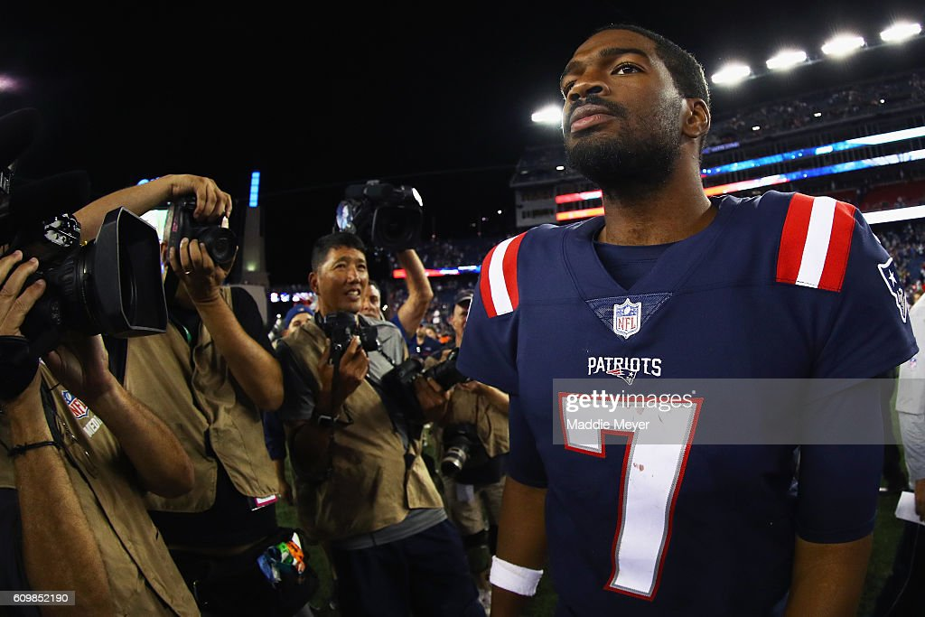 Jacoby Brissett #7 of the New England Patriots reacts after defeating the Houston Texans 27-0 at Gillette Stadium on September 22, 2016 in Foxboro, Massachusetts.