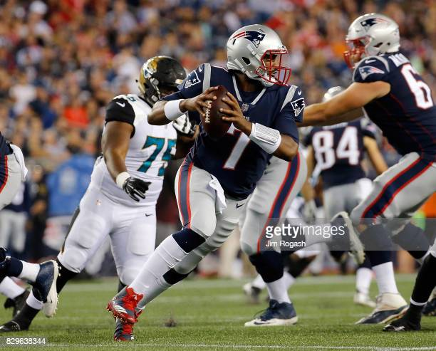 Jacoby Brissett of the New England Patriots runs the ball in the second half during a preseason game against the Jacksonville Jaguars at Gillette...