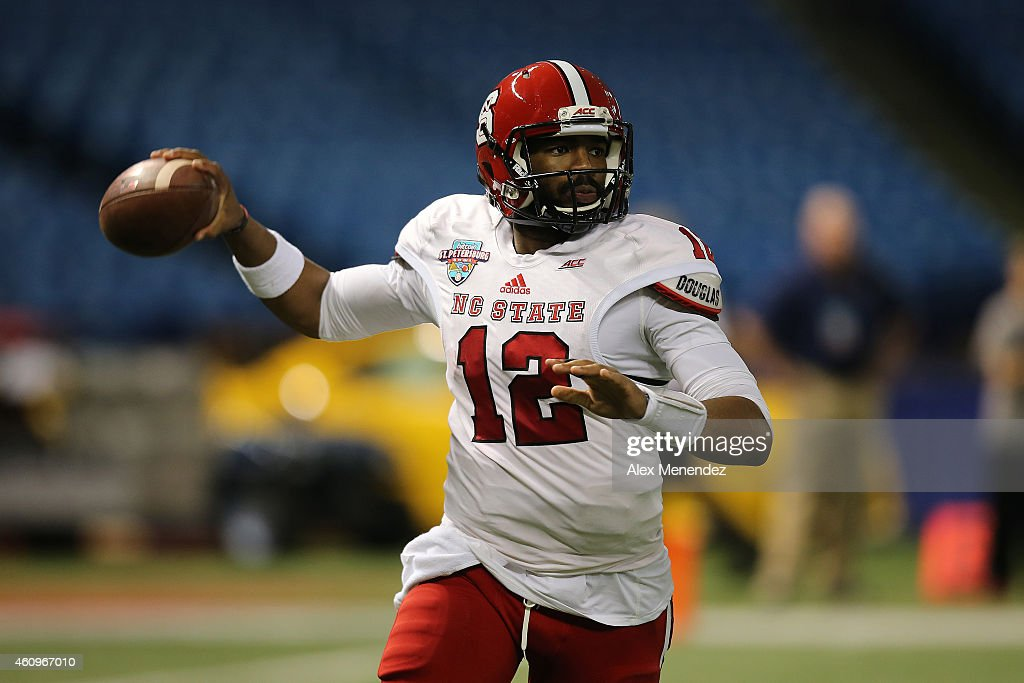Jacoby Brissett #12 of the North Carolina State Wolfpack is seen during the NCAA Bitcoin St Petersburg bowl between the North Carolina State Wolfpack and the UCF Knights at Tropicana Field on December 26, 2014 in St. Petersburg, Florida. North Carolina State won the game 34-27.