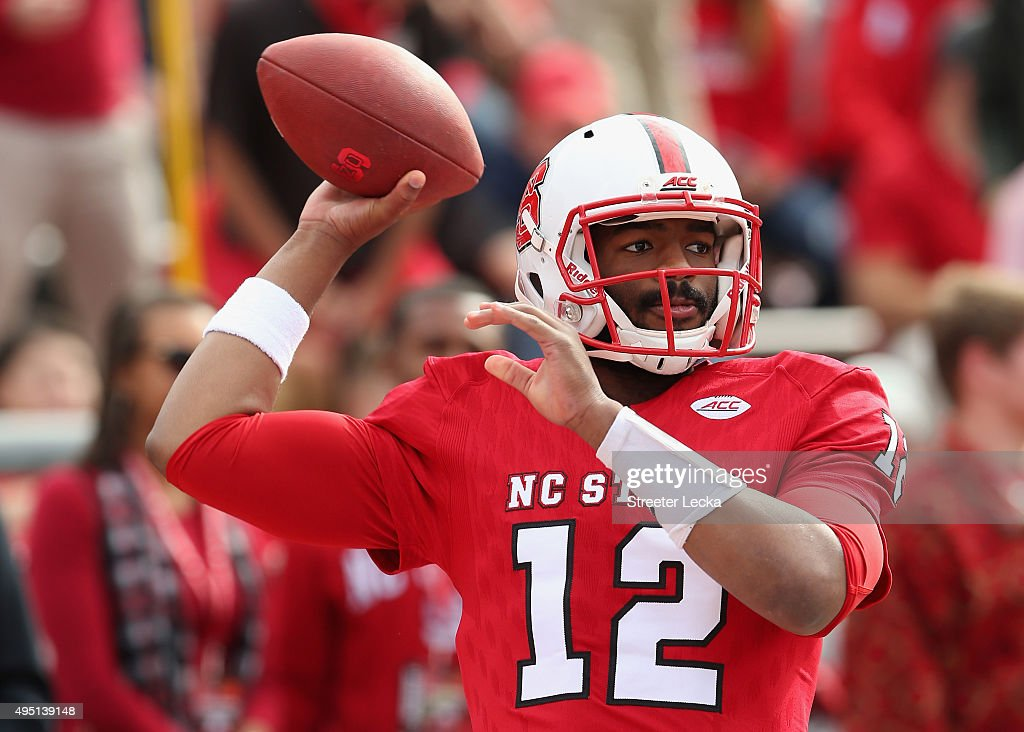 <a gi-track='captionPersonalityLinkClicked' href=/galleries/search?phrase=Jacoby+Brissett&family=editorial&specificpeople=8489613 ng-click='$event.stopPropagation()'>Jacoby Brissett</a> #12 of the North Carolina State Wolfpack warms up before their game against the Clemson Tigers at Carter-Finley Stadium on October 31, 2015 in Raleigh, North Carolina.