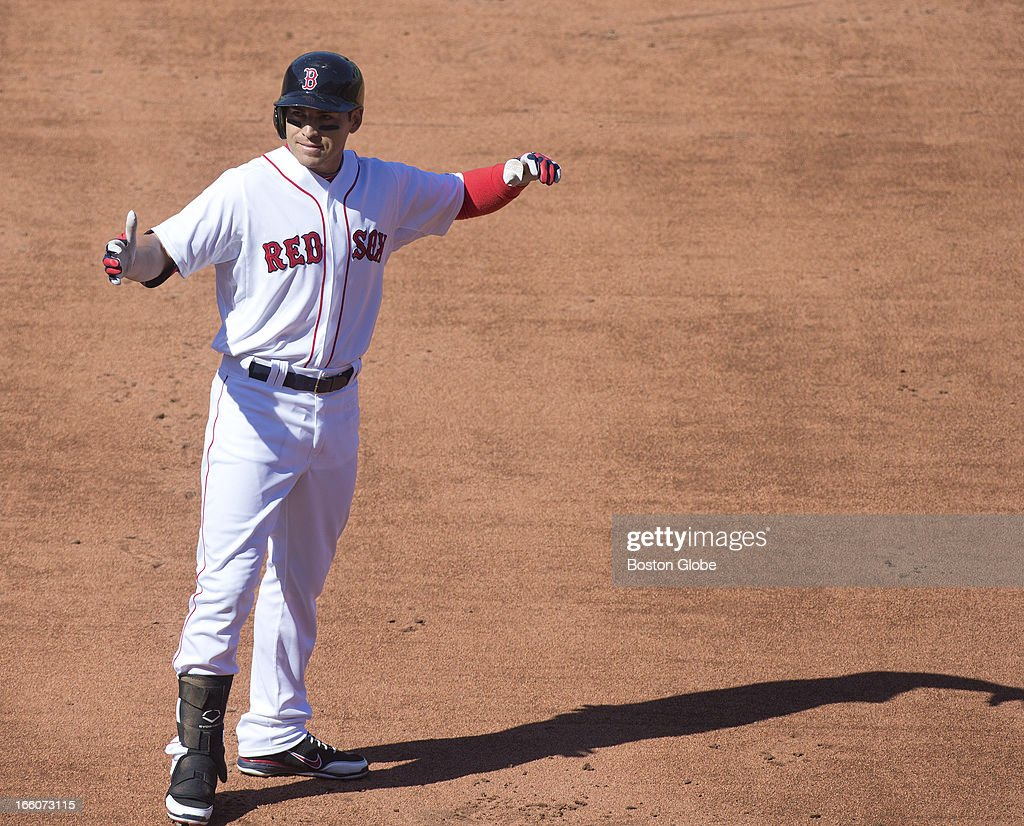 Jacoby Ellsbury after flying out in the third inning. The Baltimore Orioles play the Boston Red Sox during Opening Day at Fenway Park.