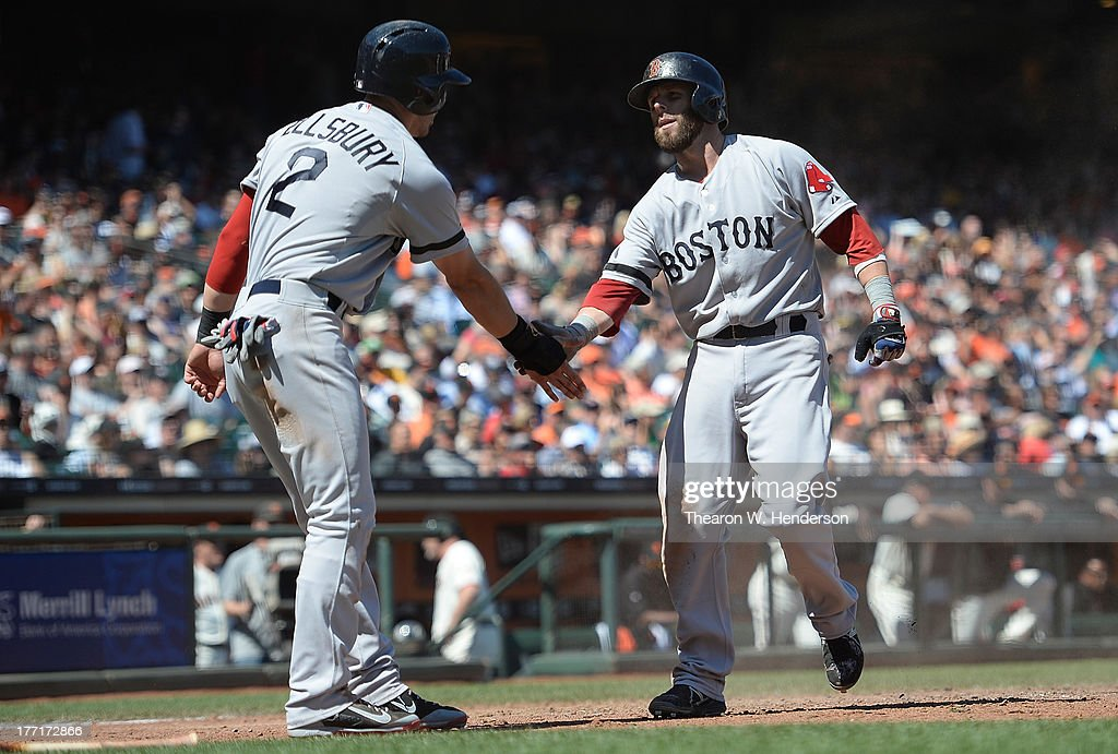 <a gi-track='captionPersonalityLinkClicked' href=/galleries/search?phrase=Jacoby+Ellsbury&family=editorial&specificpeople=4172583 ng-click='$event.stopPropagation()'>Jacoby Ellsbury</a> #2 and <a gi-track='captionPersonalityLinkClicked' href=/galleries/search?phrase=Dustin+Pedroia&family=editorial&specificpeople=836339 ng-click='$event.stopPropagation()'>Dustin Pedroia</a> #15 of the Boston Red Sox both celebrate after they scored on a bases loaded RBI two-run single from Jarrod Saltalamacchia #39 (not pictured) in the seventh inning against the San Francisco Giants at AT&T Park on August 21, 2013 in San Francisco, California.