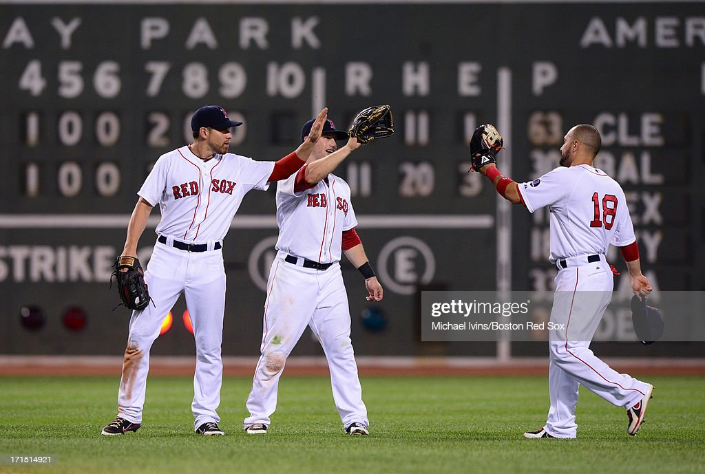 <a gi-track='captionPersonalityLinkClicked' href=/galleries/search?phrase=Jacoby+Ellsbury&family=editorial&specificpeople=4172583 ng-click='$event.stopPropagation()'>Jacoby Ellsbury</a> #2, <a gi-track='captionPersonalityLinkClicked' href=/galleries/search?phrase=Daniel+Nava&family=editorial&specificpeople=670454 ng-click='$event.stopPropagation()'>Daniel Nava</a> #29 and <a gi-track='captionPersonalityLinkClicked' href=/galleries/search?phrase=Shane+Victorino&family=editorial&specificpeople=576251 ng-click='$event.stopPropagation()'>Shane Victorino</a> #16 of the Boston Red Sox celebrate a 11-4 win over the Colorado Rockies on June 25, 2013 at Fenway Park in Boston, Massachusetts.