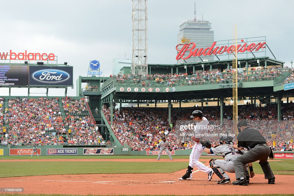 <a gi-track='captionPersonalityLinkClicked' href=/galleries/search?phrase=Jacoby+Ellsbury&family=editorial&specificpeople=4172583 ng-click='$event.stopPropagation()'>Jacoby Ellsbury</a> #2 of the Boston Red Sox bats against the Detroit Tigers during the first inning on September 2, 2013 at Fenway Park in Boston Massachusetts.