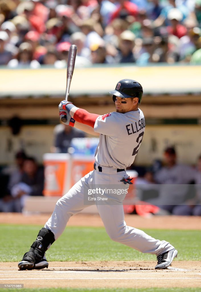 <a gi-track='captionPersonalityLinkClicked' href=/galleries/search?phrase=Jacoby+Ellsbury&family=editorial&specificpeople=4172583 ng-click='$event.stopPropagation()'>Jacoby Ellsbury</a> #2 of the Boston Red Sox bats against the Oakland Athletics at O.co Coliseum on July 14, 2013 in Oakland, California.