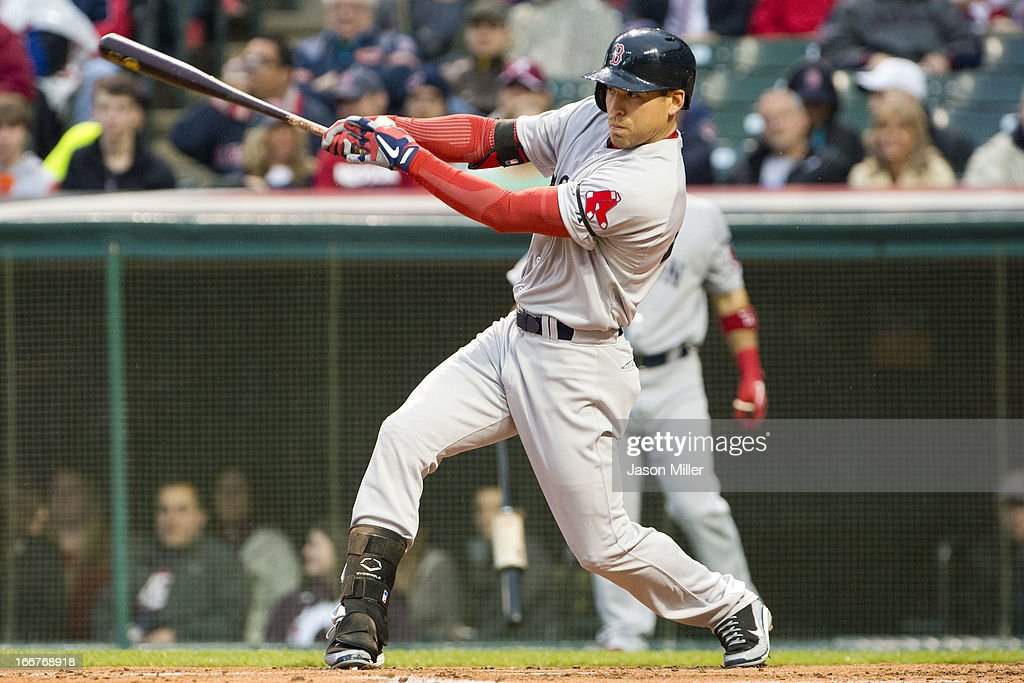 <a gi-track='captionPersonalityLinkClicked' href=/galleries/search?phrase=Jacoby+Ellsbury&family=editorial&specificpeople=4172583 ng-click='$event.stopPropagation()'>Jacoby Ellsbury</a> of the Boston Red Sox hits a two RBI single during the second inning against the Cleveland Indians at Progressive Field on April 16, 2013 in Cleveland, Ohio. All uniformed team members are wearing jersey number 42 in honor of Jackie Robinson Day.