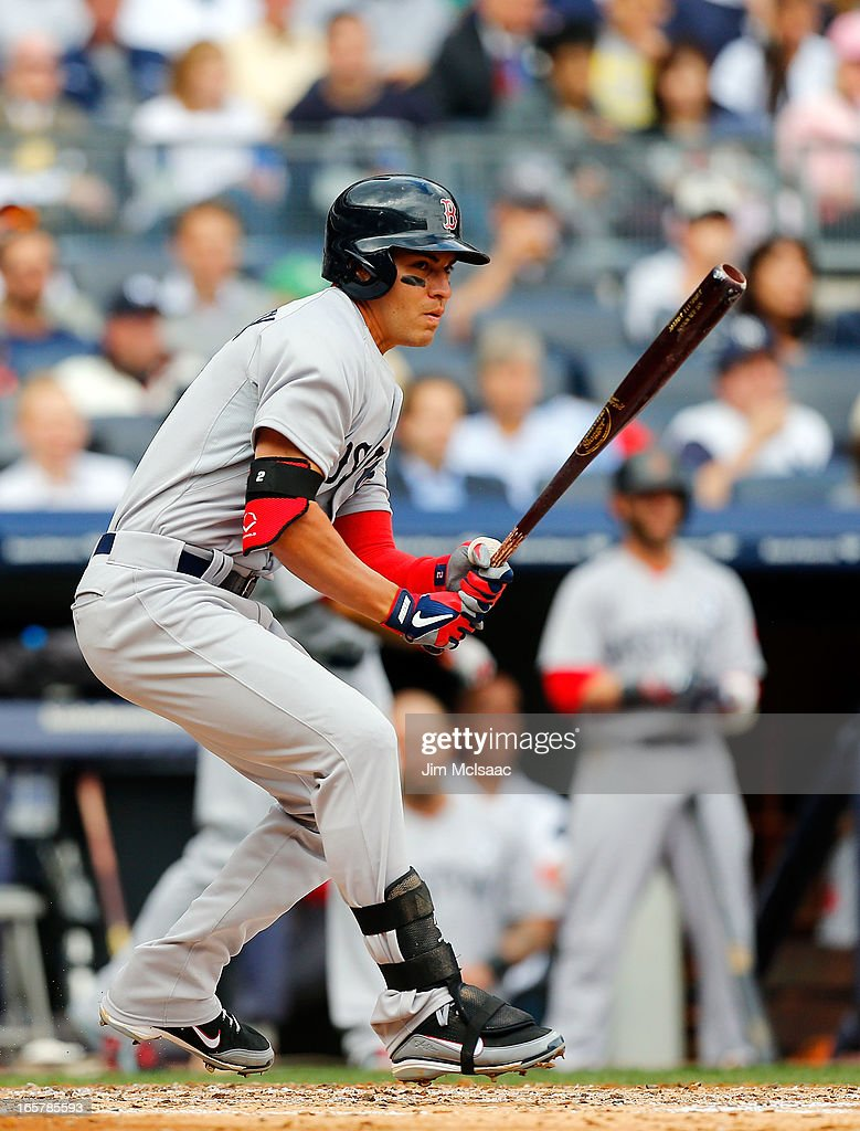 Jacoby Ellsbury #2 of the Boston Red Sox in action against the New York Yankees during Opening Day at Yankee Stadium on April 1, 2013 in the Bronx borough of New York City. The Red Sox defeated the Yankees 8-2.