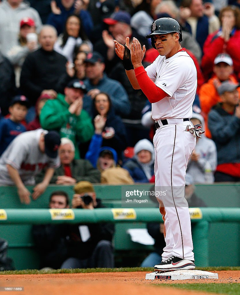 <a gi-track='captionPersonalityLinkClicked' href=/galleries/search?phrase=Jacoby+Ellsbury&family=editorial&specificpeople=4172583 ng-click='$event.stopPropagation()'>Jacoby Ellsbury</a> #2 of the Boston Red Sox reaches third after stealing second and making his way to third on an errant throw in the 10th inning against the Tampa Bay Rays at Fenway Park on April 13, 2013 in Boston, Massachusetts. Ellsbury would score the winning run on a single by Shane Victorino #18 of the Boston Red Sox that inning.
