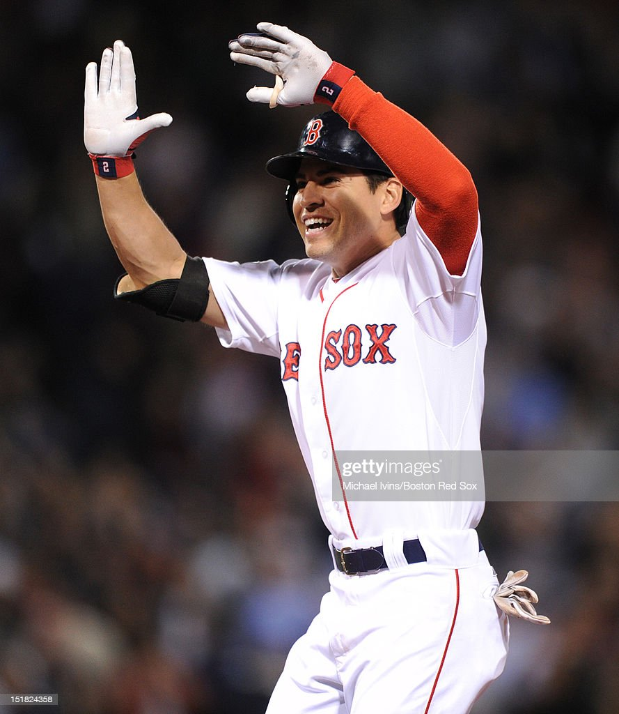 Jacoby Ellsbury #2 of the Boston Red Sox reacts after hitting a game-winning single against the New York Yankees in the ninth inning on September 11, 2012 at Fenway Park in Boston, Massachusetts.