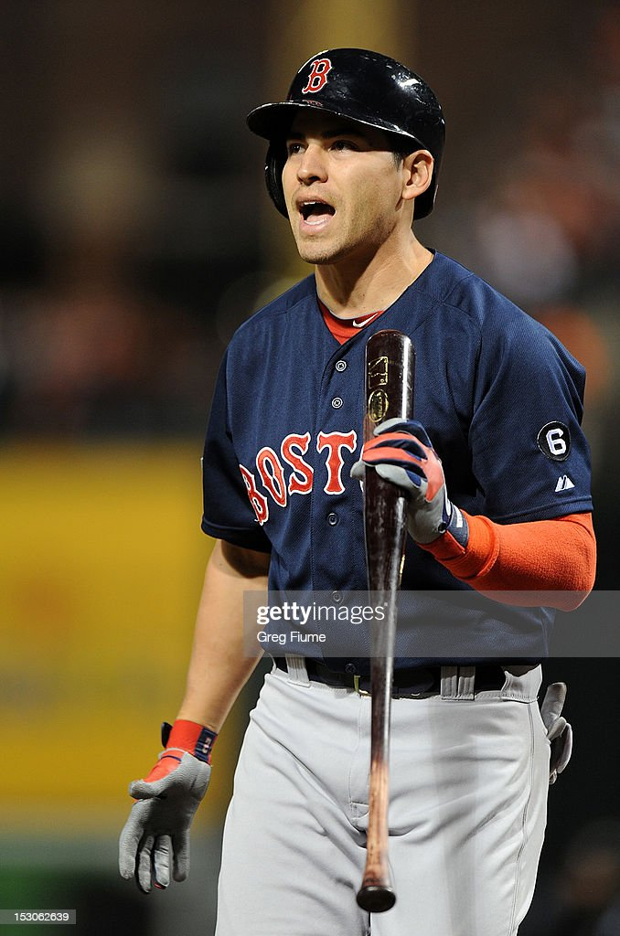 <a gi-track='captionPersonalityLinkClicked' href=/galleries/search?phrase=Jacoby+Ellsbury&family=editorial&specificpeople=4172583 ng-click='$event.stopPropagation()'>Jacoby Ellsbury</a> #2 of the Boston Red Sox reacts after striking out in the first inning against the Baltimore Orioles at Oriole Park at Camden Yards on September 29, 2012 in Baltimore, Maryland.