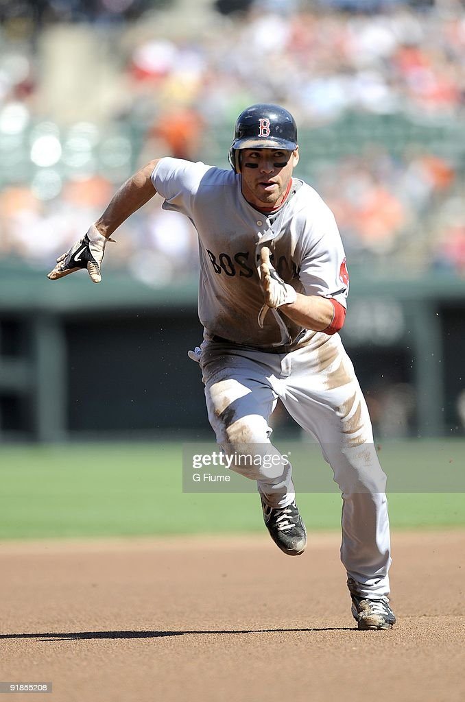 Jacoby Ellsbury of the Boston Red Sox runs the bases against the Baltimore Orioles on September 20 2009 at Camden Yards in Baltimore Maryland