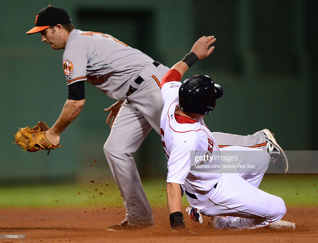 <a gi-track='captionPersonalityLinkClicked' href=/galleries/search?phrase=Jacoby+Ellsbury&family=editorial&specificpeople=4172583 ng-click='$event.stopPropagation()'>Jacoby Ellsbury</a> #2 of the Boston Red Sox slides into second with a stolen base ahead of the tag by J.J. Hardy of the Baltimore Orioles during the eighth inning on August 29, 2013 at Fenway Park in Boston, Massachusetts.